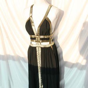 Black and Gold Greek Goddess Dress
